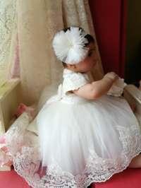 Caroline - mânecă scurtă alb ivoire (set botez și turtă)