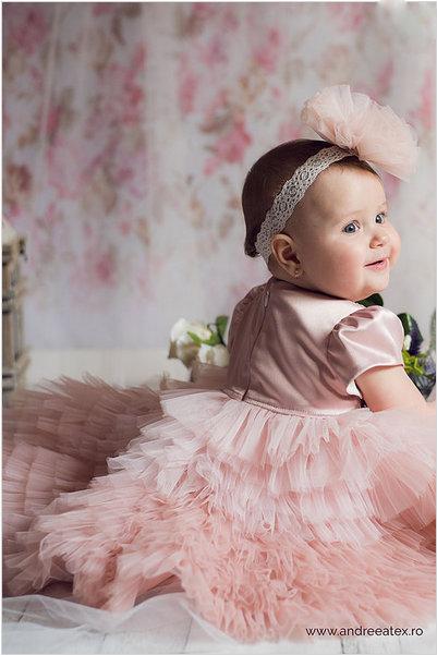 Rochiță Josephine - culoare roz-vintage (set botez și turtă)