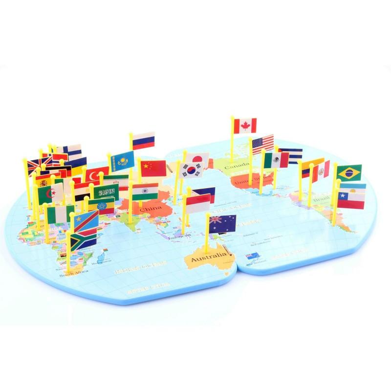 Jucarie harta lumii cu stegulete din lemn