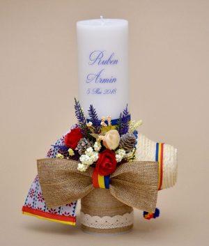 Lumanare botez Traditionala tricolor