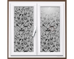 Sticker decorativ pentru geamuri Floare cu bucle