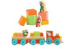 Trenulet din lemn cu cuburi si pinguini Djeco Junzo train