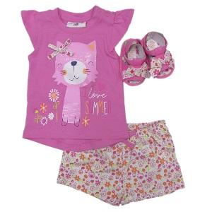 Tricou pantaloni cu imprimeu floral si sandale roz