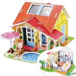 Casa puzzle 3D. Baie cu piscina