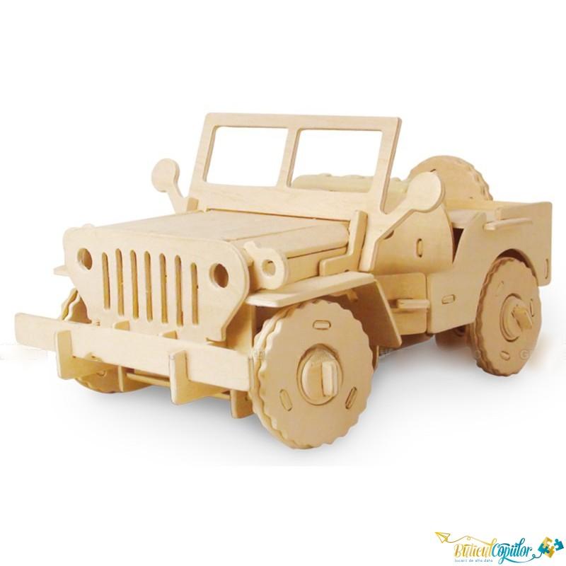 Off-road/ Jeep cu telecomanda. Puzzle 3d din lemn