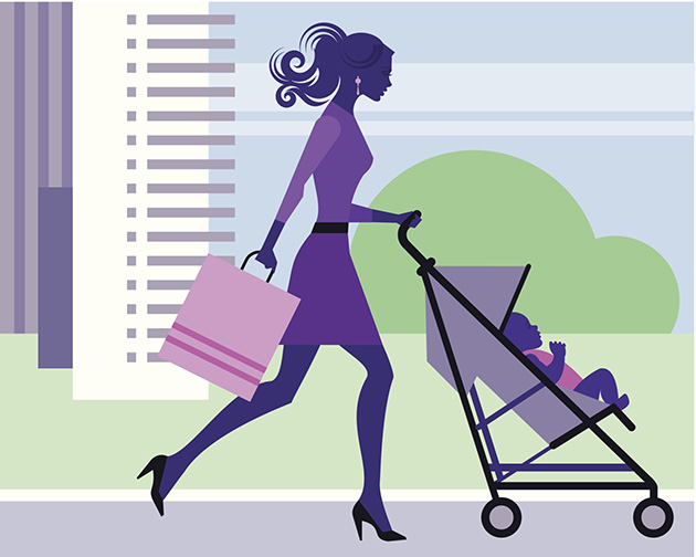 mama si bebelus la shopping