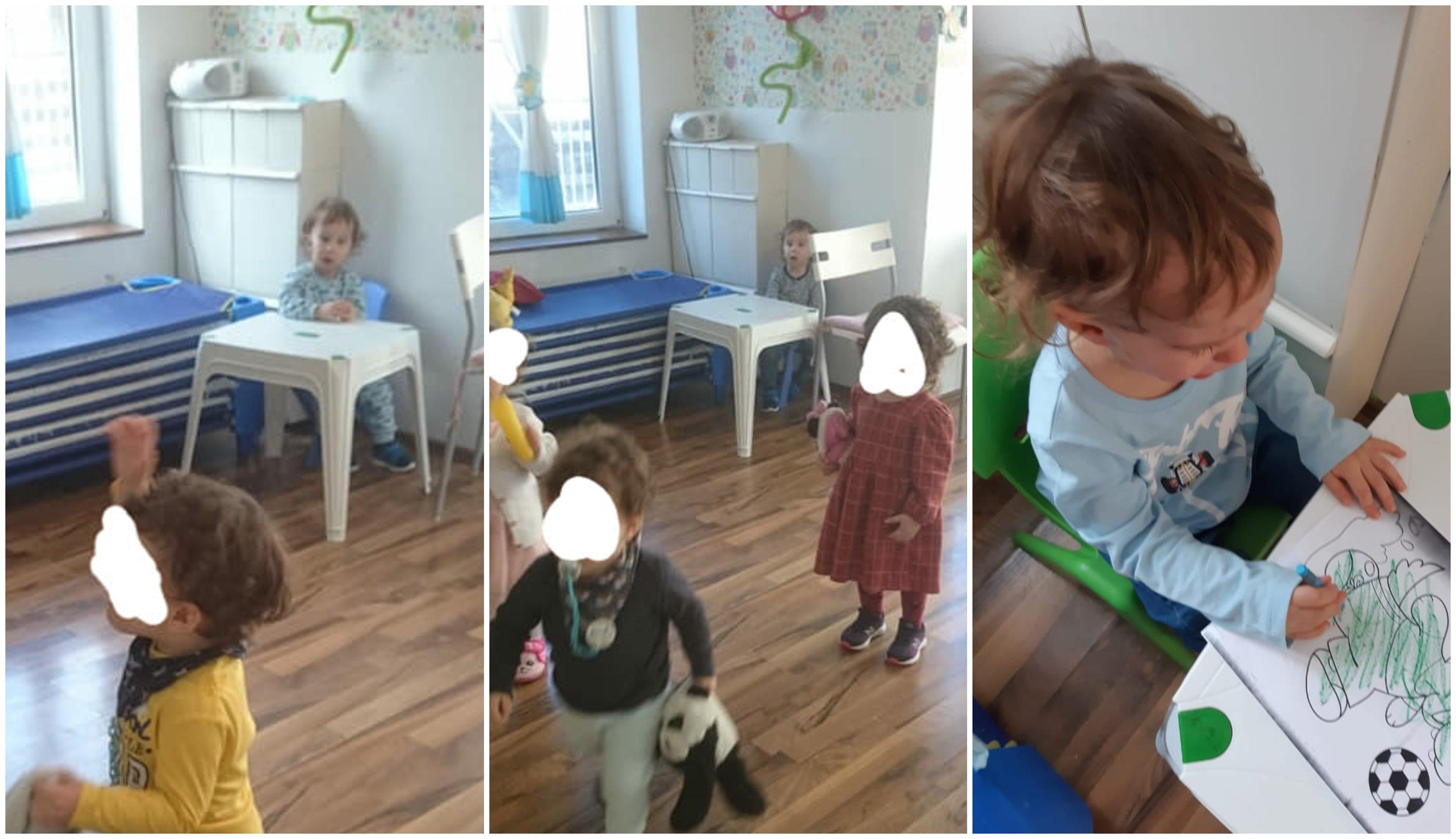 baietel de doi ani izolat si blocat la o masuta pentru ca ar fi muscat alti copii