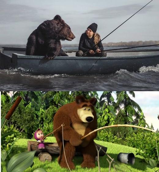masha si ursul la pescuit
