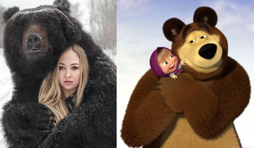 masha si ursul in realitate in paralel cu personajele de desene