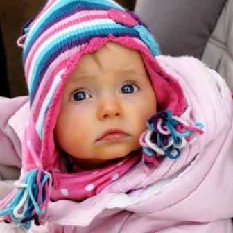 Poza bebelus adorabil, frumos, ochi albastri