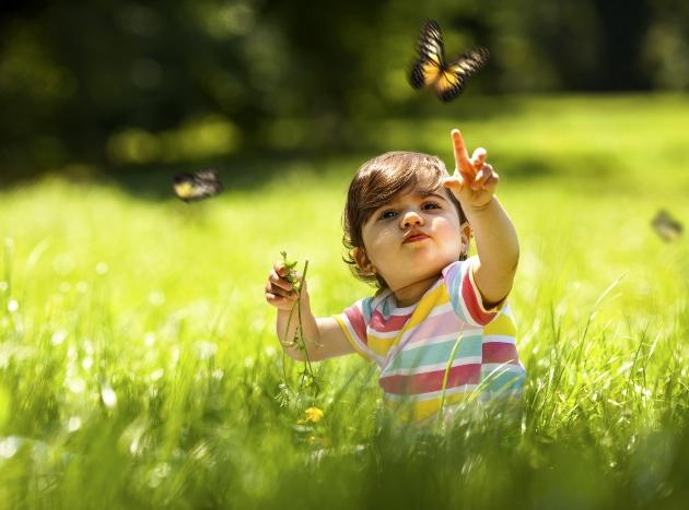 poza copil se joaca in aer liber cu fluturi