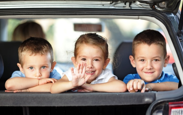 poza copii in maşină